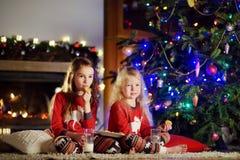 Petites soeurs heureuses ayant le lait et des biscuits par une cheminée dans un salon foncé confortable le réveillon de Noël Photos stock