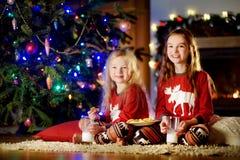 Petites soeurs heureuses ayant le lait et des biscuits par une cheminée dans un salon foncé confortable le réveillon de Noël Photographie stock
