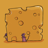 Petites souris avec du fromage Photos libres de droits