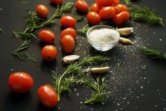 petites tomates-cerises mûres rouges avec le persil vert, l'ail et le sel brut dans une crème sur un fond texturisé noir photos stock