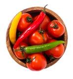 Petites tomates fraîches dans une cuvette Images stock