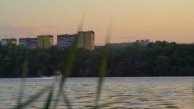 Petites voiles de bateau de flotte le long de la rivière sur le fond de bâtiments de ville clips vidéos