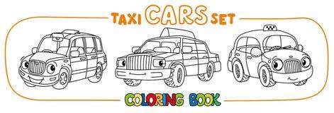 Petites voitures drôles de taxi réglées Livre de coloration Photographie stock