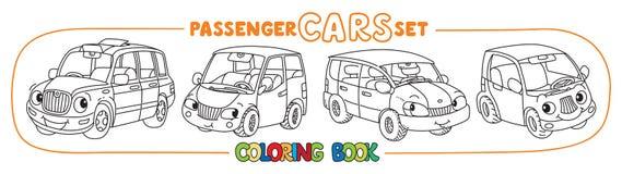 Petites voitures drôles de ville avec des yeux Ensemble de livre de coloriage Images stock