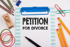 Petition for Divorce. White office desk with stationery.  stock photo
