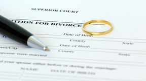 Petition für Scheidungpapier Stockbilder