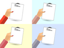 The petition in hand. Vector illustration in a flat style. Desig. N element. Set. Vector illustration Stock Image