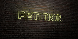 PETITION -Realistic Neon Sign on Brick Wall background - 3D rendered royalty free stock image. Can be used for online banner ads and direct mailers Vector Illustration