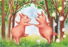 Petits animaux pelucheux mignons dansant dans une forêt de féerie Photo stock