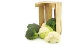 Petits chou-fleur et brocoli frais dans une caisse en bois Image stock