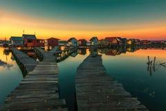 Petits cottages de pêche Photographie stock libre de droits