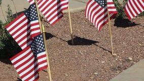Petits drapeaux américains dans l'écartement au sol banque de vidéos