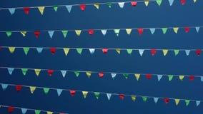 Petits drapeaux de ondulation triangulaires banque de vidéos