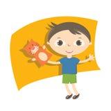 Petits enfants d'illustration avec le jouet de marionnette de main Images stock