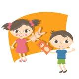 Petits enfants d'illustration avec le jouet de marionnette de main Image libre de droits