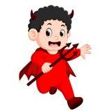 Petits enfants dans le costume de diable rouge de Halloween illustration libre de droits