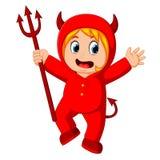 Petits enfants dans le costume de diable rouge de Halloween illustration stock