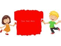 Petits enfants de bande dessinée peignant le mur avec la couleur rouge Images stock