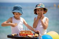 Petits enfants doux, garçons jumeaux, célébrant leur sixième birthd Photo libre de droits