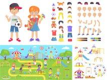 Petits enfants et constructeurs de terrain de jeu d'été Photo stock