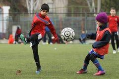 Petits enfants jouant le football ou le football Images stock