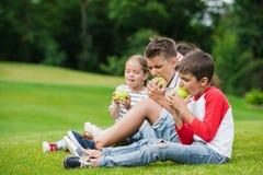 Petits enfants mangeant les pommes vertes tout en se reposant en parc Photo libre de droits