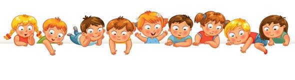 Petits enfants mignons au-dessus d'un fond blanc Photo stock