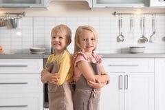 Petits enfants mignons portant des tabliers photo stock