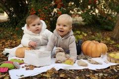 Petits enfants mignons posant avec le potiron et les jouets parmi des arbres dedans Photos stock