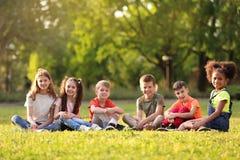 Petits enfants mignons s'asseyant sur l'herbe dehors Images libres de droits
