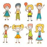 Petits enfants mignons tirés par la main Collection de bande dessinée heureuse Photo libre de droits