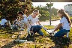 Petits enfants nettoyant l'herbe des déchets Photo stock