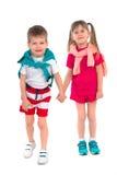 Petits enfants sur un fond blanc Photo libre de droits