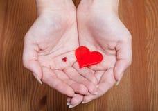 Petits et grands coeurs dans des mains femelles Photo stock