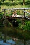 Petits frères jumeaux adorables pêchant sur le beau lac Images libres de droits