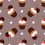 Petits gâteaux avec Cherry Seamless Pattern Photographie stock libre de droits