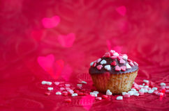 Petits gâteaux avec de petits coeurs Photographie stock