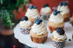 Petits gâteaux avec des baies sur la table noire homemade Macro Framboise et myrtille Nourriture naturelle de concept sans colora photographie stock