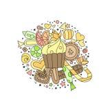 Petits gâteaux, biscuits, bonbons et chocolat tirés par la main d'ensemble de style de griffonnage illustration libre de droits