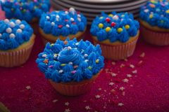 Petits gâteaux colorés avec différents goûts Images libres de droits