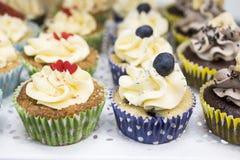 Petits gâteaux délicieux avec le buttercream et les fruits Images stock