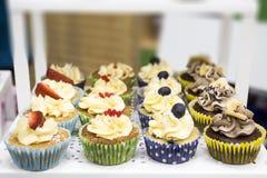 Petits gâteaux délicieux avec le buttercream et les fruits Photographie stock