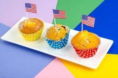 Petits gâteaux délicieux faits maison pour le Jour de la Déclaration d'Indépendance Photographie stock libre de droits