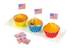 Petits gâteaux délicieux faits maison pour le Jour de la Déclaration d'Indépendance Photos libres de droits