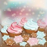 Petits gâteaux de bonbons à Noël d'hiver Photos libres de droits