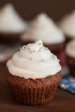 Petits gâteaux de chocolat avec le givrage de fromage fondu Photo stock