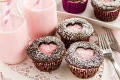 Petits gâteaux de coupe-circuit de coeur de jour de valentines Photos libres de droits