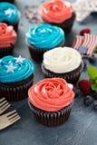 Petits gâteaux de drapeau américain pour le 4ème juillet Photo libre de droits