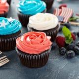 Petits gâteaux de drapeau américain pour le 4ème juillet Image stock