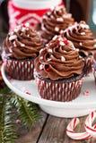 Petits gâteaux de menthe poivrée de chocolat avec la canne de sucrerie Photos libres de droits